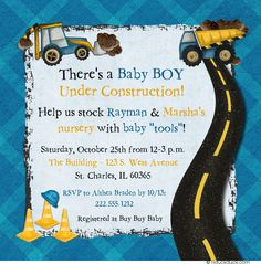 Dirt Movers Under Construction Blue Plaid & Yellow Baby Shower Cards