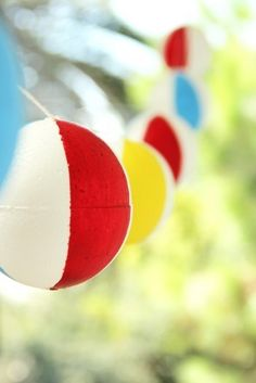 This DIY beach ball garland would be a great addition to any backyard Beach Party!