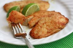 always looking for fish recipes. I would substitue the olive oil with coconut oil and sub the flour to make gluten free.  Honey Lime Tilapia // One Lovely Life