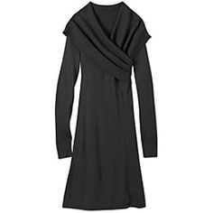 Sochi Sweater Dress - Its all about the neckline in this cozy sweater dress with its oversized, asymmetrical ribbed shawl collar.