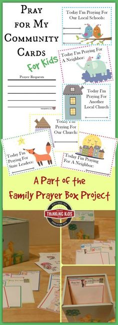 Teach your kids to offer prayers for their community with Prayer for the Community Prayer Cards for Kids - part of the Family Prayer Box craft. Family Bible Study, Prayer For Family, Bible Study For Kids, Kids Bible, Parents Prayer, Kids Prayer, School Prayer, Prayer Box, Prayer Cards