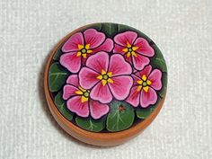 Primrose pink, gift ideas for friends & coworkers, desk accessory, handmade hand painted rock by RockArtiste