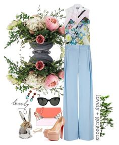 """New ways"" by gabyidc ❤ liked on Polyvore featuring Allstate Floral, Preen, Michael Lo Sordo, Ted Baker, Christian Louboutin, Oliver Peoples, Kate Spade, BaubleBar and DANNIJO"