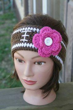 Football headband with team color flower.