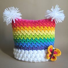 CROCHET PATTERN - Over the Rainbow - a colorful square hat with butterfly and pom-poms in 6 sizes (Infant - Adult S) - Instant PDF Download