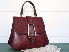 RARE Vintage Etienne Aigner Purse Leather Handbag Saddle Oxblood f1d6a1042b8e7