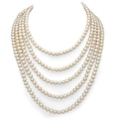 DaVonna White Freshwater Pearl 100-inch Endless Necklace ($51) ❤ liked on Polyvore featuring jewelry, necklaces, party necklaces, long white necklace, vintage jewelry, round necklace and white jewelry