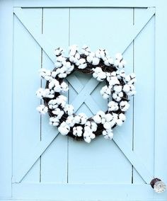 Cotton Wreath Fall Wreath Gift for Her Housewarming Gift