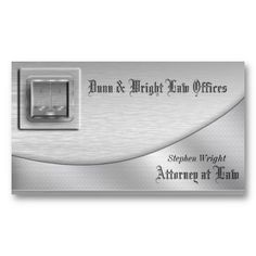 Elegant brushed Platinum Law Offices or Attorney at Law business card - top left has a glassy square with scales of justice