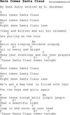 Christmas Songs and Carols, lyrics with chords for guitar banjo for Here Comes Santa Claus Song Lyrics And Chords, Cool Ukulele, Easy Guitar Songs, Guitar Chords For Songs, Music Chords, Music Guitar, Ukulele Tabs, Guitar Notes, Christmas Ukulele Songs