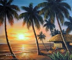 Painting: Beach House Hawaii Palms Bird Of Paradise Flowers Stretched 20X24 Oil Painting