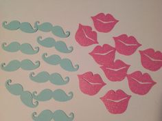 mustache and lips gender reveal confetti