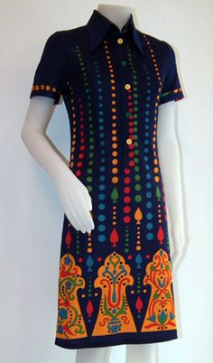 Original dress '60 years - wonderful pattern. Abito originale anni '60. bellissima fantasia. By http://www.facebook.com/jsvintage
