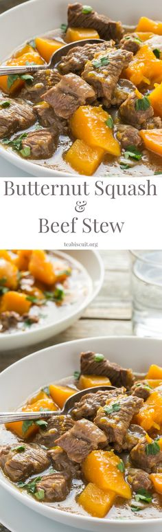 This Beef and Butternut Squash Stew is so easy to cook! Made from scratch in one pot with simple ingredients, it's a great tasting meal that your whole family will love!  low carb   paleo   gluten free   primal   teabiscuit.org