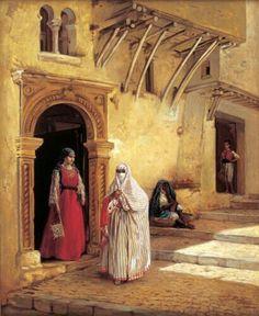 Algérie - Peintre Belge  Jean Baptiste Huysmans(1826 – 1906),huile sur toile, Titre : Une rue à Alger