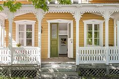 Yellow Scandinavian Summer House, adorable little Victorian Cottage with yellow exterior and white porch&corbels Swedish Cottage, Yellow Cottage, Swedish House, Cozy Cottage, Cottage Style, Norwegian House, Style At Home, Victorian Porch, Victorian Cottage