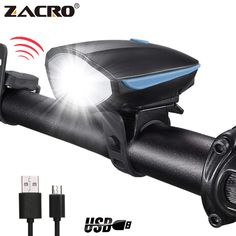 LED Bike Light Set Front and Back Super Bright USB Bicycle Lights Rechargeable Headlight with Horn Rear Tail Light Waterproof Easy to Install Cycling Safety Commuter Flashlight Blue) - Gutig Pins Buy Bicycle, Bicycle Bell, Car Starter, Bicycle Lights, Bike Light, Car Rear View Mirror, Cool Bike Accessories, Led Headlights, Tail Light