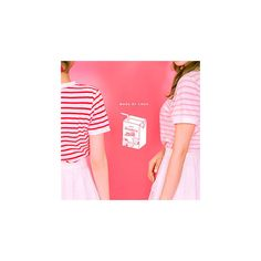 """Strawberry Milk"" Stripe T-Shirt ($26) ❤ liked on Polyvore featuring tops, t-shirts, tees, women, cotton t shirts, red striped tee, pink t shirt, red tee and red striped t shirt"