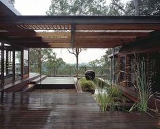 gorgeous atrium seperating two parts of a house