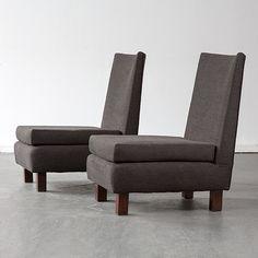 Joaquim Tenreiro, Brazil, 1960s Rare pair of upholstered slipper chairs with square, ebonized legs.