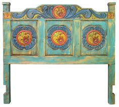 Carved Painted Wood Headboard - Available in Queen and King sizes. Beautiful carving and colorfully painted, this Mexican style headboard will enrich any old southwest or rustic decor.  Free Shipping within the Continental U.S.