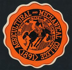 Oklahoma A M College _ORIGINAL 1930's Sticker vtg NCAA OSU Cowboys stillwater