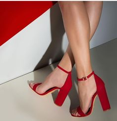 Trendy High Heels For Ladies : Shoespie Red Open Toe Strappy Chunky Heel Sandals High Heels Stiletto, Stilettos, Pumps Heels, Red High Heels, Shoes High Heels, Red High Heel Boots, Open Toe Shoes, Shoes Sneakers, Red Shoes