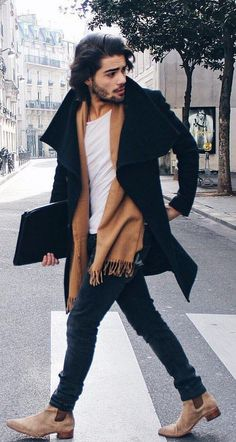 Creative And Inexpensive Useful Tips: Urban Fashion Chic Minimal Classic urban fashion spring crop tops.Urban Wear For Men Suits women's urban fashion closet. Fashion Male, Fashion Outfits, Mens Scarf Fashion, Urban Fashion, Fashion Trends, Fashion Clothes, Beard Fashion, Mens Fashion 2018, Fashion Accessories