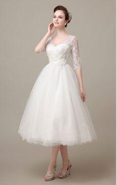 Vestido De Novia 2015 Short White Tea-Length A-Line Dress With V-Neck Tank Half Sleeve Lace Backless Elegant Wedding Dresses