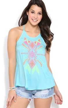 Deb Shops Floaty Trapeze Tank with #Neon #Tribal Embroidery $10.00
