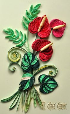 Quilling - Flamingo flower