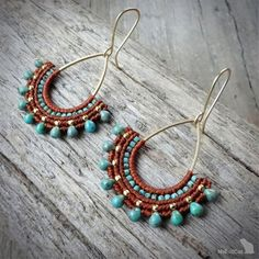 Handcrafted macrame earrings made with linhasita mm thread autumn brown or straw color, 925 sterling silver gold plated beads, MIYUKI beads - Turquoise Blue Picasso , gold plated copper earwires, brass drop. The thin mm linhasita thread gives a Macrame Earrings, Tribal Earrings, Macrame Jewelry, Macrame Bracelets, Beaded Jewelry Patterns, Beaded Earrings, Paper Quilling Jewelry, Micro Macramé, Earring Tutorial