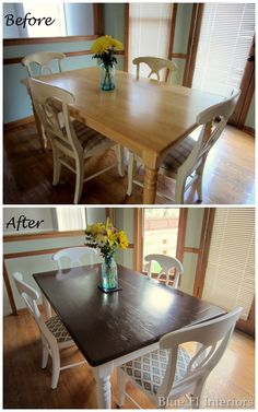 Dining Table Makeover: Before and After….want to find a craigslist find and re… Dining Table Makeover: Before and After….want to find a craigslist find and redo it! Refurbished Furniture, Repurposed Furniture, Furniture Makeover, Upcycled Furniture Before And After, Painted Furniture, Gel Stain Furniture, Redoing Furniture, Furniture Repair, Painted Chairs