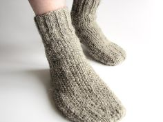 hand-knit wool socks - hand-spun organic un-dyed wool - natural grey