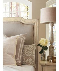 Taupe and white bed linen