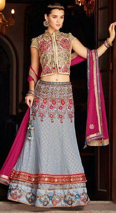 USD 198.25 Gray Viscose Georgette Wedding Chaniya Choli 42578