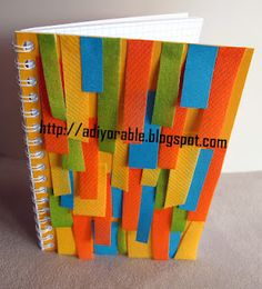 DIY funky paper note book made with scrap paper