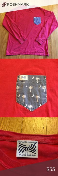Fraternity Collection South Carolina pocket tee This is in excellent condition with no wear, stains or rips. Long sleeve and red in color. South Carolina palm tree and moon featured on the pocket. Very preppy very cute  Vineyard Vines Tops Tees - Long Sleeve