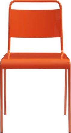 lucinda orange stacking chair  | CB2 - possible orange chair at outdoor dining area.