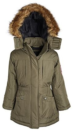 U.S. Polo Assn. Big Girls' Long Insulated Parka, Olive, 7/8 #fallfashion -- Check out this great sponsored product.