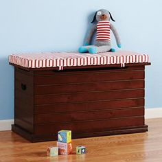 Kids Blue Beadboard Toy Chest With Striped Cushion Seat | Kid Room Ideas |  Pinterest | A Well, Midnight Blue And Kid