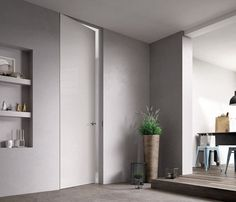 Best 8 Amazing Minimalist Home Door Design To Perfect The Interior at Your Home Flush Door Design, Home Door Design, Sliding Door Design, Interior Barn Doors, Home Interior, Invisible Doors, Porte Design, Moderne Pools, Indoor Doors