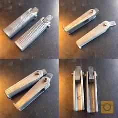 Rad finned vintage aluminum chopper pegs. $60.00 shipped. Rare set! DM or (928) 899-9780. #kickerparts #thechopmeet #chopperswapper #pegs #sissybarsrule #chopperparts #harleyparts #choppershit #knucklhead #shovelhead #ironhead #panhead @chopperswapper