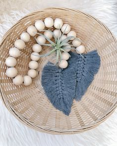 Handmade farmhouse / boho / scandi style wooden bead garland with macrame feather ends. Wood Bead Garland, Beaded Garland, Garlands, Bohemian Crafts, Ceramic Shop, Scandi Style, Wooden Crafts, Diy Flowers, Bead Crafts