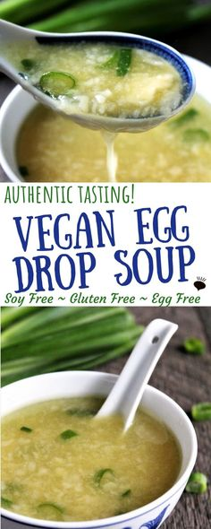 Amaze your friends and family with this vegan egg drop soup with a real authentic taste and texture, but with no eggs! No tofu, soy, gluten or dairy either! Whole Food Recipes, Soup Recipes, Vegan Recipes No Soy, Vegetarian Recipes, Gf Recipes, Recipes Dinner, Veggie Recipes, Free Recipes, Egg And Grapefruit Diet