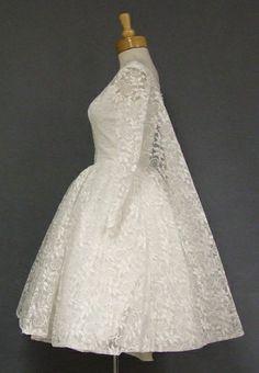 1960s wedding gowns | AMAZING White Lace 1960s Wedding Dress w/ Watteau Back VINTAGEOUS ...