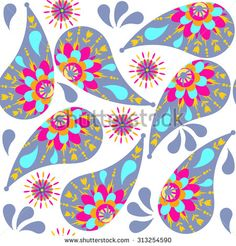Paisley seamless pattern and seamless pattern in swatch menu, vector illustration