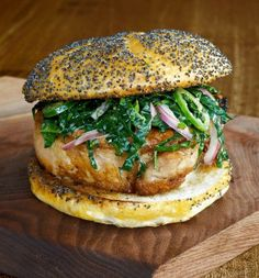 Le Bunk Sandwich from Le Pigeon: Cooking at the Dirty Bird by Chef Gabriel Rucker via wsj: Spicy pork chop and kale slaw on a kaiser roll.