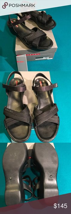 Prada sandal size 39/9usa Authentic Prada nylon sandals black. Size 39/9 USA. Only worn few times. Bought on sale at Saks Fifth Avenue years ago for $245. comes with original box and authenticity card  🚫No trades ✅ Reasonable offers considered  🚭 Smoke free home Prada Shoes Sandals