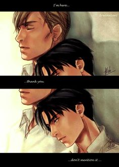 Attack on Titan (Shingeki no Kyojin) - Erwin Smith x Levi Ackerman - Eruri Armin, Levi X Eren, Attack On Titan Ships, Attack On Titan Anime, Levi Ackerman, Ereri, Otp, Connie Springer, Levi And Erwin